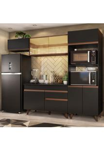 Cozinha Completa Madesa Reims 260001 Com Armário E Balcão - Preto/Rustic Preto