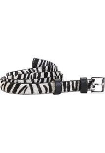 Cinto Couro Loucos & Santos Fino Pelo Animal Print Zebra Feminino - Feminino-Zebra