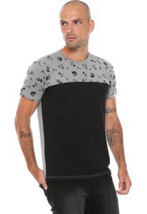 Camiseta Gangster Estampada Cinza/Preta