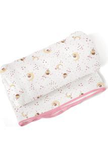 Cobertor Papi Era Uma Vez Para Menina Em Algodão 70 X 90Cm Branco/Rosa