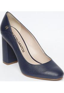 3105286351 ... Sapato Tradicional Em Couro Com Tag- Azul Marinho- Sloucos E Santos