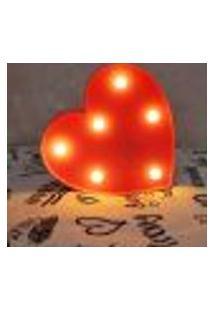 Luminária Led Abajur Luz Decoracão Coração Vermelho