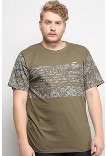 Camiseta Gajang Folhagens Plus Size Masculina - Masculino-Verde