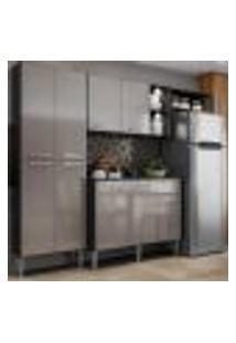 Cozinha Compacta C/ 2 Leds Armário E Balcão Com Tampo Pequim Multimóveis Preta/Lacca Fumê