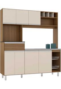 Cozinha Compacta 7 Portas E 1 Gaveta Maria-Poliman - Carvalho / Off White