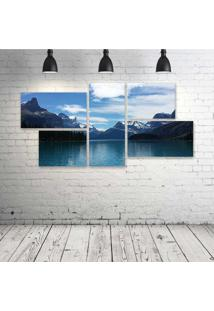 Quadro Decorativo - Maligne-Lake-View-From-Spirit-Island-In-Jasper-National-Park - Composto De 5 Quadros