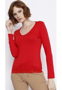 Blusa Com Renda Aplicada - Vermelha - Malweemalwee