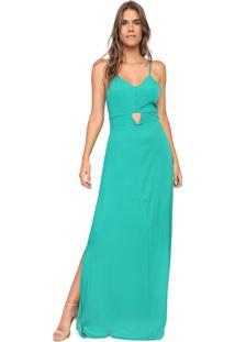 Vestido Mercatto Longo Fendas Verde