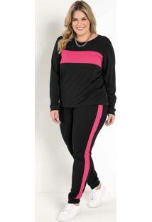 Conjunto Jogger Preto E Pink Plus Size