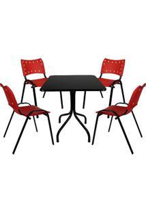 Jogo De Mesa Fixa 70 Por 70 Tampo Preto 4 Cadeiras Vermelha Plástico