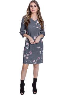 Vestido Curto Carbella Outono Lumerie Metal Floral Cinza