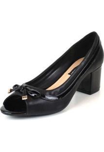 Sapato Peep Toe Emporionaka Feminino Macio Laço Conforto - Feminino-Preto