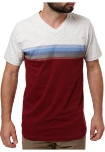 Camiseta Manga Curta Masculina Cinza/Bordô