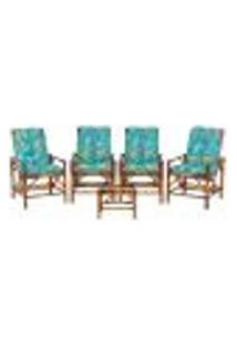 Conjunto Mesa E 4 Cadeiras De Bambu Cancun Para Área Edicula Jardim G17