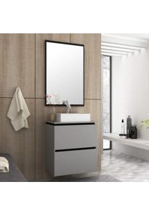 Conjunto Para Banheiro Com Espelheira E Gabinete Com Cuba Urban Móveis Bosi Argento/Preto