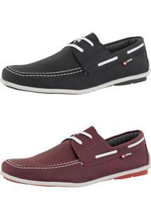 Kit Dockside Cr Shoes Lançamento Bordô E Preto