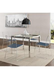 Mesa 326 Vidro Incolor Cromada Com 4 Cadeiras 1712 Azul Noturno Carraro