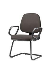 Cadeira Job Com Bracos Fixos Assento Courino Cinza Escuro Base Fixa Preta - 54548 54548
