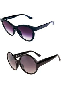 Promoção Kit 2 Óculos De Sol Femininos Prorider Casuais Preto - Ttocskit1