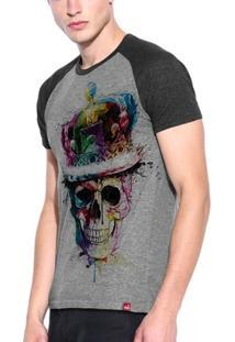 Camiseta Raglan Caveira Colors - Masculino
