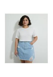 Camiseta Mangas Bufantes Lisa Curve E Plus Size Bege