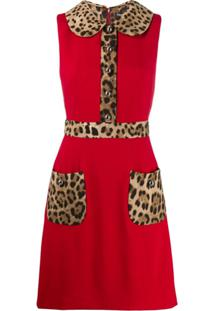Dolce & Gabbana Leopard Print Trim Flared Dress - Vermelho