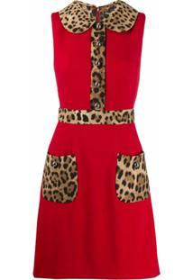 Dolce & Gabbana Vestido Evasê Com Estampa De Leopardo - Vermelho