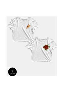 Kit Com 2 Blusinhas Cropped Blusa Tshirt Camiseta Feminina Pizza Rosas Flor Love Branca Branco