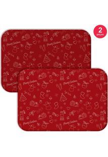 Jogo Americano Love Decor Wevans Elementos Natalinos Vermelhos 2 Peças