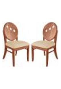 Kit 2 Cadeiras Decorativas Sala De Jantar Teseu Madeira Maciça Poliéster Bege/Imbuia - Gran Belo