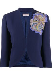Emilio Pucci Blazer Floral Com Paetês - Azul