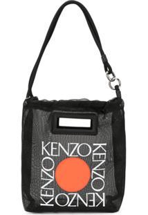 Kenzo Bolsa Tote Com Estampa De Logo - Preto