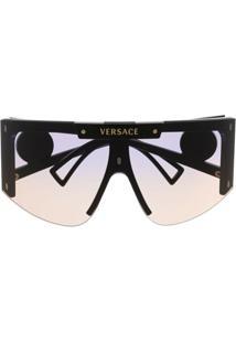 Versace Eyewear Medusa Halo Oversized-Frame Sunglasses - Preto