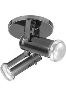 Spot De Sobrepor Em Alumínio Para 2 Lâmpadas 60W 110V Preto Oxidado
