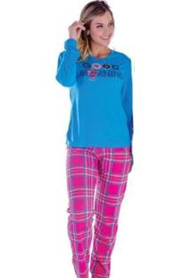 Pijama Feminino Victory Inverno Frio Longo Malha Fria - Feminino-Azul