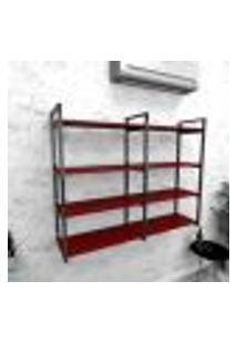Estante Industrial Escritório Aço Cor Preto 120X30X98Cm Cxlxa Cor Mdf Vermelho Modelo Ind42Vres