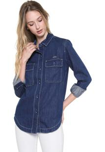 Camisa Jeans Lacoste Pespontos Azul