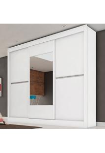 Guarda-Roupa Casal Ipê 3 Portas E 4 Gavetas – Móveis Europa - Branco Acetinado / Nogueira / Branco Acetinado
