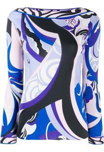 Emilio Pucci Blusa Estampada Com Decote Canoa - Azul