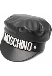 Moschino Chapéu De Couro Com Letreiro De Logo - Preto