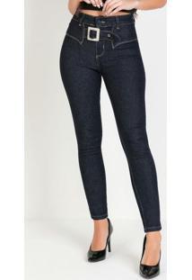 Calça Sawary Hot Pants Jeans Escura Com Cinto