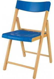 Cadeira Potenza Dobravel Natural Com Plastico Azul - 20645