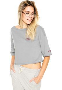 Camiseta Cropped Mary Jane Bordado Space Cinza