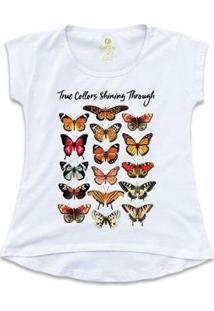 Camiseta Cool Tees Borboletas True Collors Feminina - Feminino-Branco