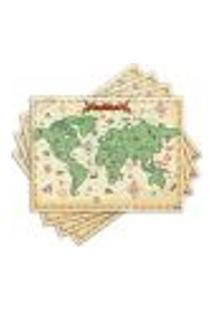Jogo Americano - Mapa Antigo Com 4 Peças - 127Jo