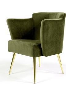 Poltrona Decorativa Sala De Estar Pés Alumínio D'Ouro Alba Veludo Verde - Gran Belo