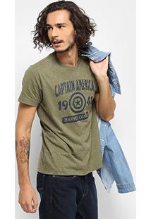 Camiseta Drezzup Marvel Capitão América Masculina - Masculino-Verde Militar