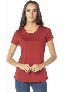 Camiseta Cora Básico Decote Redondo Modal Feminina - Feminino-Terracota