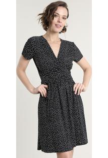Vestido Feminino Curto Estampado De Poá Transpassado Com Faixa Para Amarrar Manga Curta Preto
