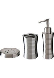 Conjunto Inox Para Toalete Mor 3 Peças Relux - Unissex-Prata